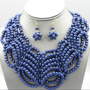 Navy Blue Glass Faux pearl Necklace Earring Set